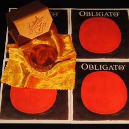 Струны для скрипки купить Obligato  Pirastro + Канифоль Laubach Gold  для скрипки и альта купить