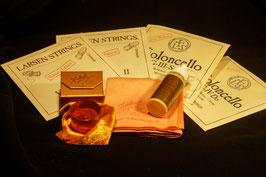 LARSEN купить Комплект струн для виолончели + ЭКОНОМ-Набор: золотая канифоль Laubach Gold для виолончели + High-Tech- платочек + чистящее средство глубокой очистки и полировки