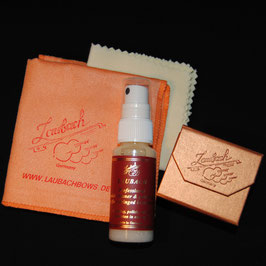 Laubach professional varnish cleaner and polish spray & Laubach polishing cloth & Laubach Gold rosin violin/viola Set
