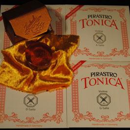 Комплект струн для скрипки  PIRASTRO TONICA + Канифоль Laubach золотая для скрипки и альта купить.