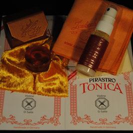 Pirastro -Tonica Violinstrings SET + Laubach Gold Rosin for Violin + Laubach Cleaning and Polishing Cloth + Laubach Varnish Cleaner & Polish Spray
