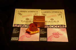 G + C Thomastik Spirocore  and Lasren A + D Soloist  strings SET  + Laubach GOLD rosin for cello to buy.