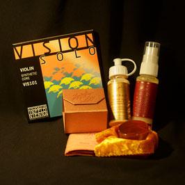 Струны VISION SOLO VIS 101 + золотая канифоль Laubach +  средство глубокой очистки + скрипичный полироль + полиуретановый безворсовый платочек  для протирки скрипичной лаковой поверхности купить.