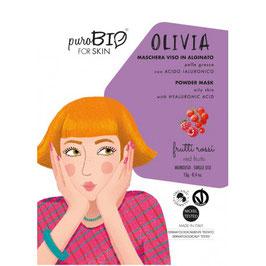 """MASCHERA VISO IN ALGINATO PELLE GRASSA """"OLIVIA"""" 11 FRUTTI ROSSI - PUROBIO"""