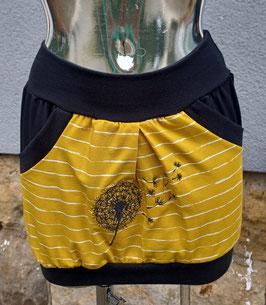 Taschenrock senfgelb gestreift mit hochwertiger Pusteblumenstickerei  Gr. XS