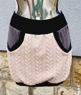 Taschenrock rosa Zopfmuster mit grau mellierten Taschen  Gr. XS