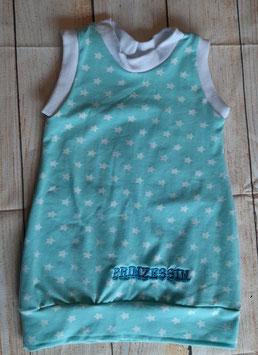 Kleidchen Mint mit weißen Sterne und Prinzessinstickerei Gr. 74/80 Unikat