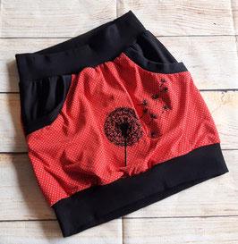 Taschenrock rot mit hochwertig bestickter Pusteblume  Gr. 134/140 Eyecatcher