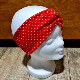 Stirnband rot mit mittelgroßen weißen Punkten, innen schwarz
