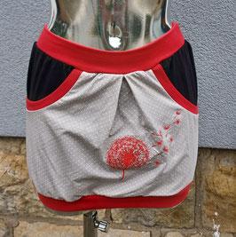 Taschenrock rotes Bündchen/schwarze Tasche auf grau mit roter Pusteblumenstickerei Gr. XS