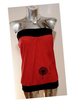 Bandeau rot mit kleinen weißen Punkten und bestickter Pusteblume (Gr. XS - XL)