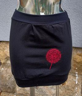 Ballonrock schwarz mit roter bestickter Pusteblume Gr. XS