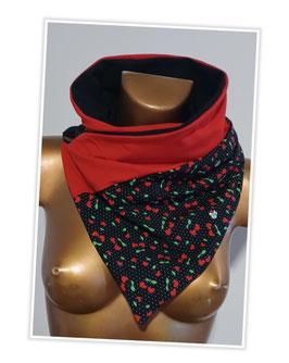Wickeltuch 2 farbig rot/schwarz mit kleinen Kirschen