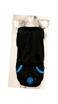 Overall schwarz/blau Pusteblume bestickt (Gr. XS - XL)