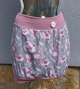Ballonrock  grau mit rosa Blumen Gr. S