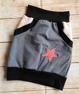 Taschenrock grau mit Punkten und bestickten Stern Gr. 110/116