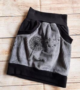 Taschenrock breit Cord grau mit hochwertiger  bestickter Pusteblume  Gr. 110/116