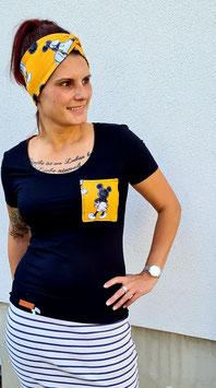 Kurzarm T-Shirt gelbe Taschenmaus und Eulisschleifchen.  Unikat