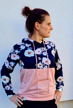 Hoodie 2 teilig mit Blumenprint und rosa  (Gr. S)