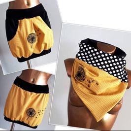 Taschenrock/Ballonrock gelb mit Punkten und bestickter Pusteblume (Gr. XS - XL)