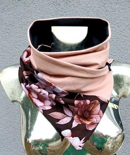 Wickeltuch 2 teilig rosa und schwarz/weinrot mit hellen Blumenprint