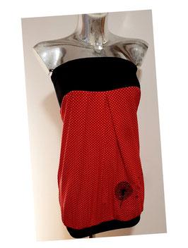 Bandeaukleid rot mit kleinen weißen Punkten und bestickter Pusteblume (Gr. XS - XL)