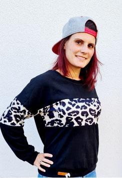 Pullover schwarzs mit Leomusterstreifen  (Gr. M)  Einzelstück
