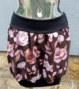 Ballonrock schwarz/weinrot mit hellen Blumenprint (Gr. L)