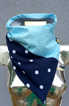 Wickeltuch 2 teilig hellblau Blumenranken/dunkelblau mit gr. w. Punkten