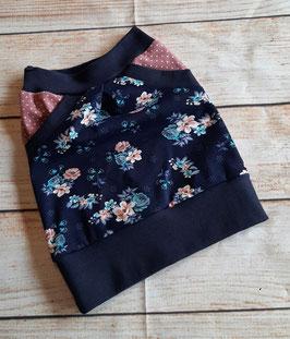 Taschenrock dunkelblau Shabbyblumenmuster  74/80  Einzelstück