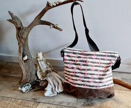 Umhängetasche ocker gestreift mit  rosa Anker