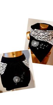 Taschenrock weiß mit Bullis und Rest schwarz (Gr. XS - XL)