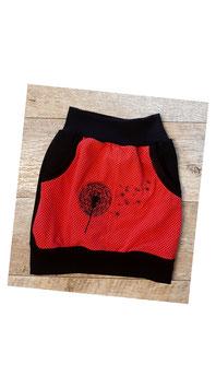 Taschenrock rot mit bestickter Pusteblume (50/56 - 134/140)