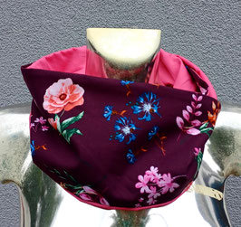 Loop Bordeaux/Rosa Blumenmuster (ohne Fleece) Einzelstück