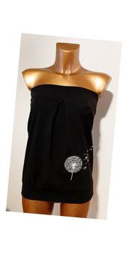 Bandeau schwarz mit weiß gestickter Pusteblume (Gr. XS - XL)