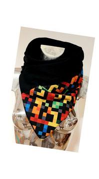 Wickeltuch Tetris mit schwarzer Spitze