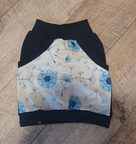 Taschenrock weiß mit blauen Pusteblumen  Gr. 110/116 Unikat