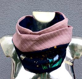 Loop 2 teilig Rosa/ dunkelblau mit Blumenmuster ( ohne Fleece) Einzelstück