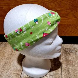 Stirnband  grün mit Pilze , innen grau/weiß gestreift
