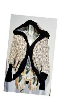 Cardigan beige mit Federn und schwarzen Bund (Gr. S/M)