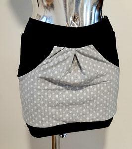 Taschenrock grau mit Punkten Gr. XS