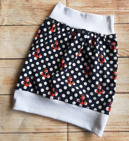 Ballonrock  schwarz mit großen Dots und roten Anker  Gr. 110/116