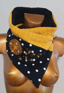 Wickeltuch  2teilig schwarz große Punkte mit gelber bestickter Pusteblume sowie Zopfmuster