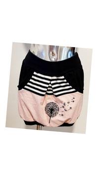 Taschenrock rosa gestreift mit bestickter Pusteblume Gr. S