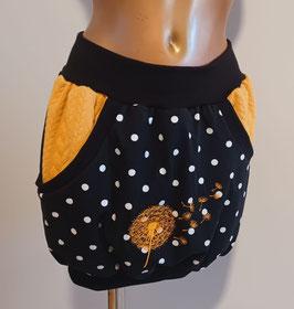 Taschenrock schwarz große Punkte mit gelben Taschen un hochwertiger bestickter Pusteblume (Gr. XS - XL)
