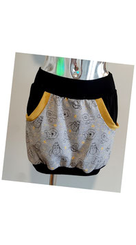 Taschenrock grau mit gelben Bär (XS - XL)