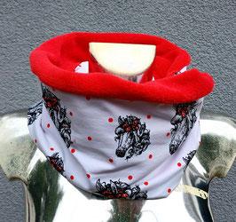 Loop Pferd mit roten Punkten  ( mit Fleece) Einzelstück