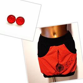 Taschenrock rot mit bestickter Pusteblume (Gr. XS - XL)