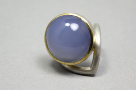 Ring Exclusiv Chalcedon Gold Silber Unikat Gr. 57