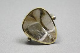 Ring Exclusiv Rutilquarz Gold Silber Unikat Gr. 57